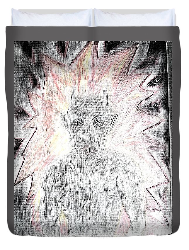 He Flame Sureal Duvet Cover featuring the drawing He Flame by Yury Bashkin