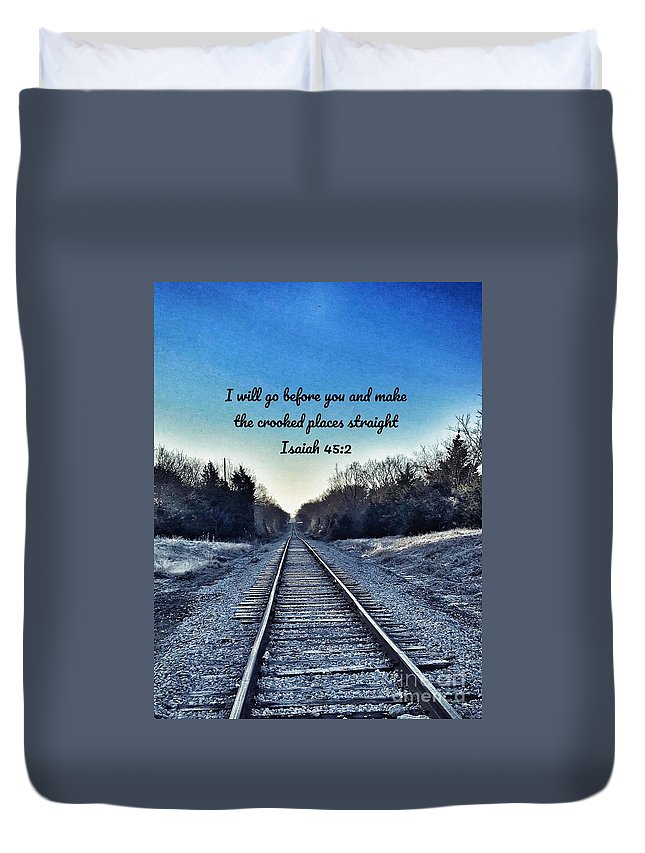 Train Tracks Duvet Cover featuring the photograph He Goes Before Us by Alicia Martin