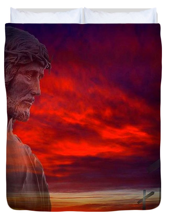 Christ Duvet Cover featuring the photograph He Has Risen by Scott Kimble