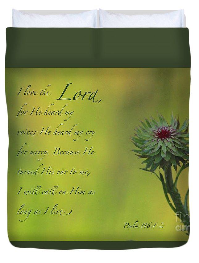 Scripture Verse Duvet Cover featuring the photograph He Heard My Voice by Robin Erisman