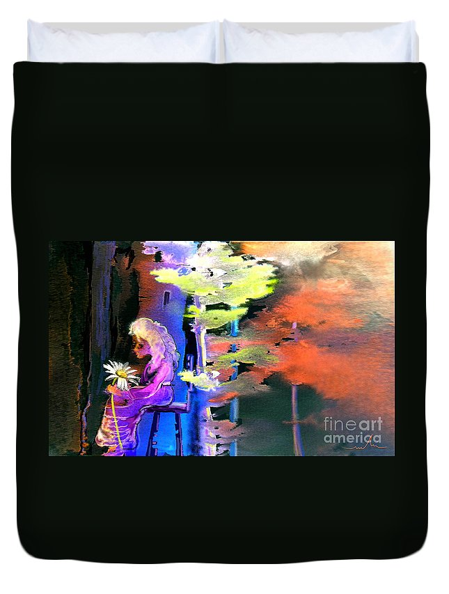 Dream Duvet Cover featuring the painting He Loves Me He Loves Me Not by Miki De Goodaboom