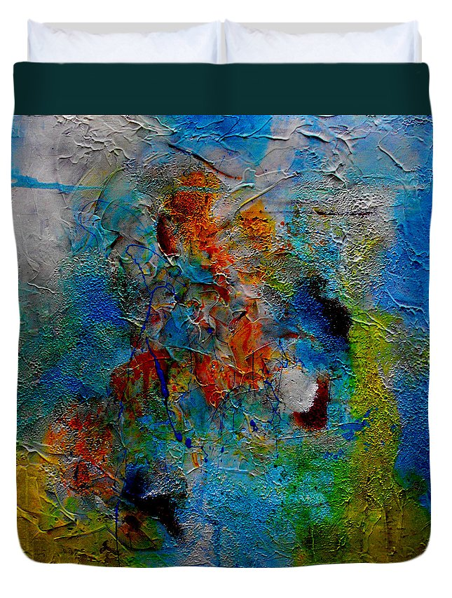 ruth Palmer Abstract Christian Contemporary Color Faith Religion Bible God Jesus Spiritual Texture Duvet Cover featuring the painting He Loves Us Inspite Of Ourselves by Ruth Palmer