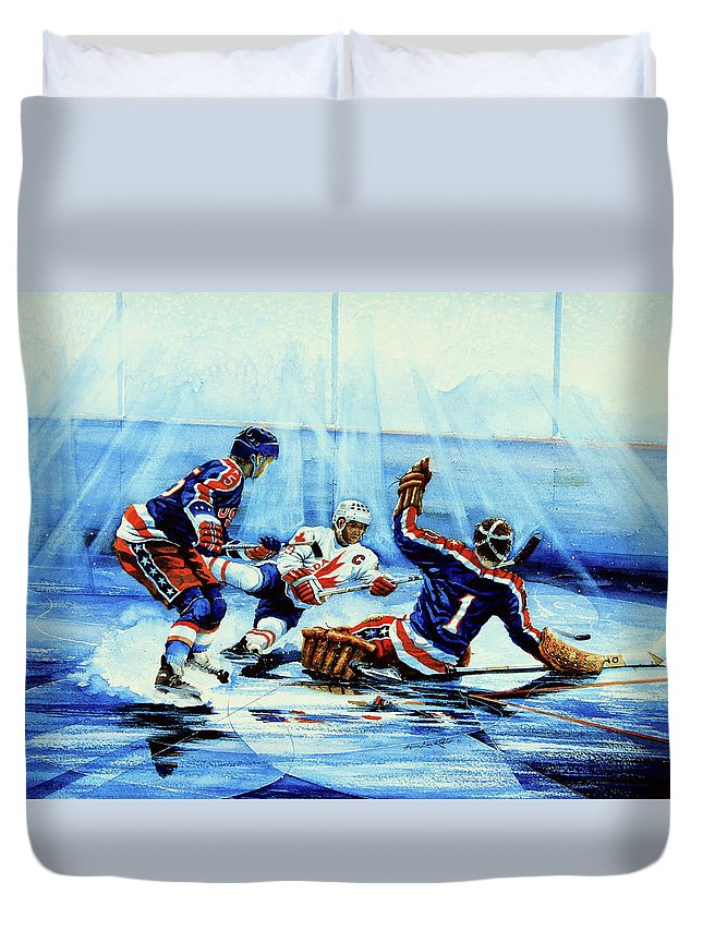 Hockey Duvet Cover featuring the painting He Shoots by Hanne Lore Koehler