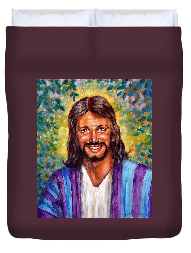 Jesus Smiling Duvet Cover featuring the painting He Smiles by John Lautermilch