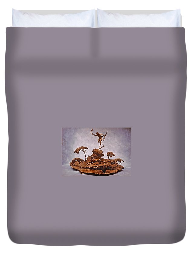 Stolen Art Duvet Cover featuring the sculpture He Who Saved The Deer Complete by Dawn Senior-Trask and Willoughby Senior