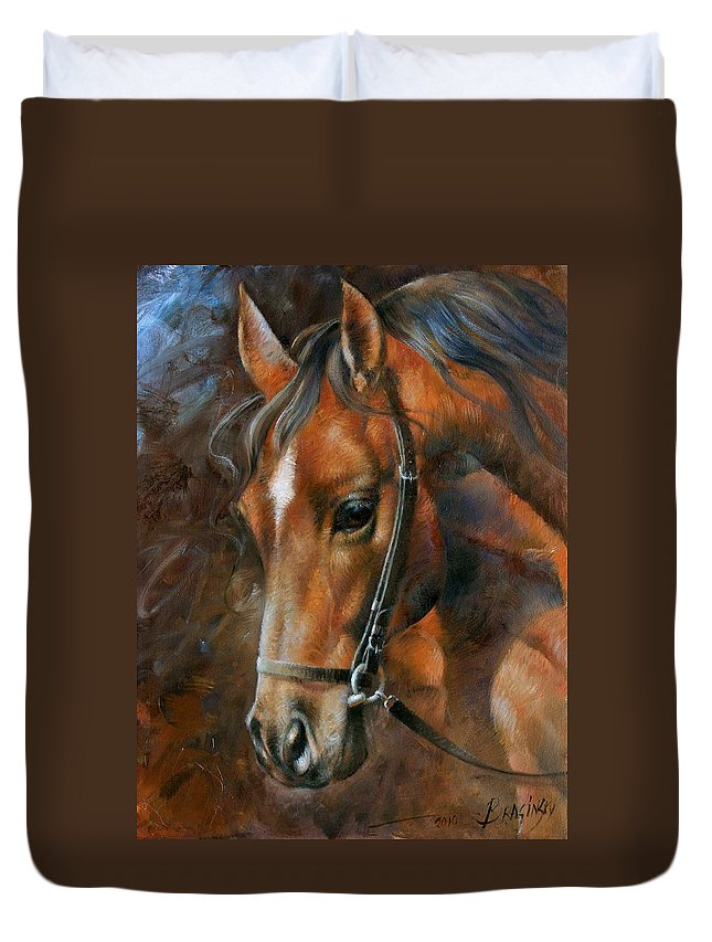 Horse Duvet Cover featuring the painting Head Horse by Arthur Braginsky