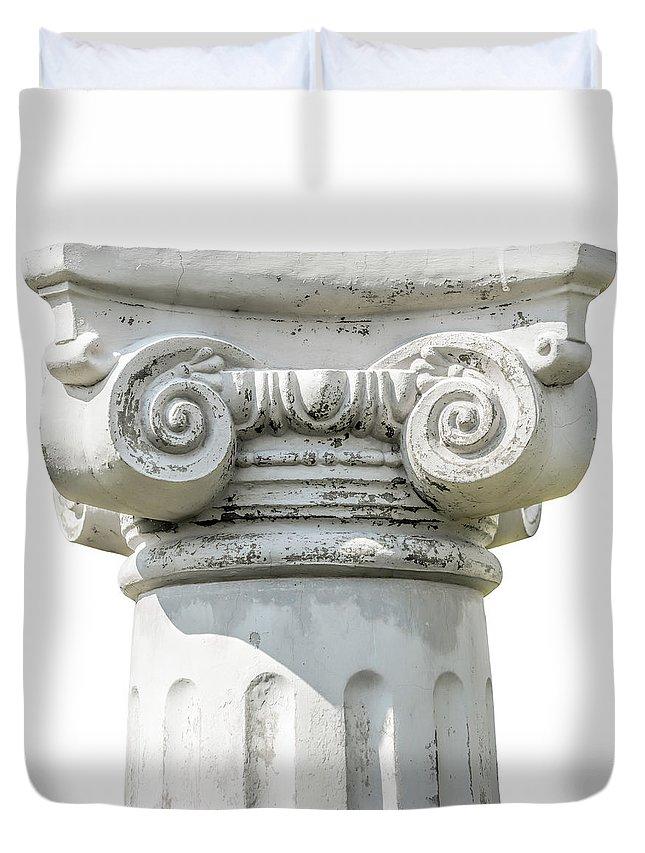 Greece Duvet Cover featuring the photograph Head Of Column by Alain De Maximy