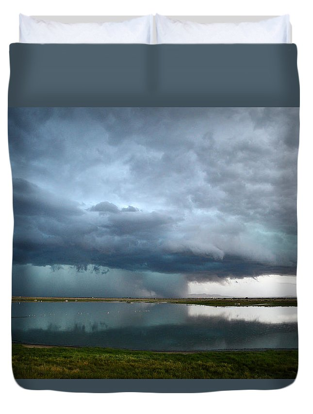 Sunset Duvet Cover featuring the photograph Headed Our Way by Brent Hall