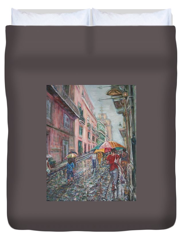 Women Duvet Cover featuring the painting Heading Home In Havava by Quin Sweetman