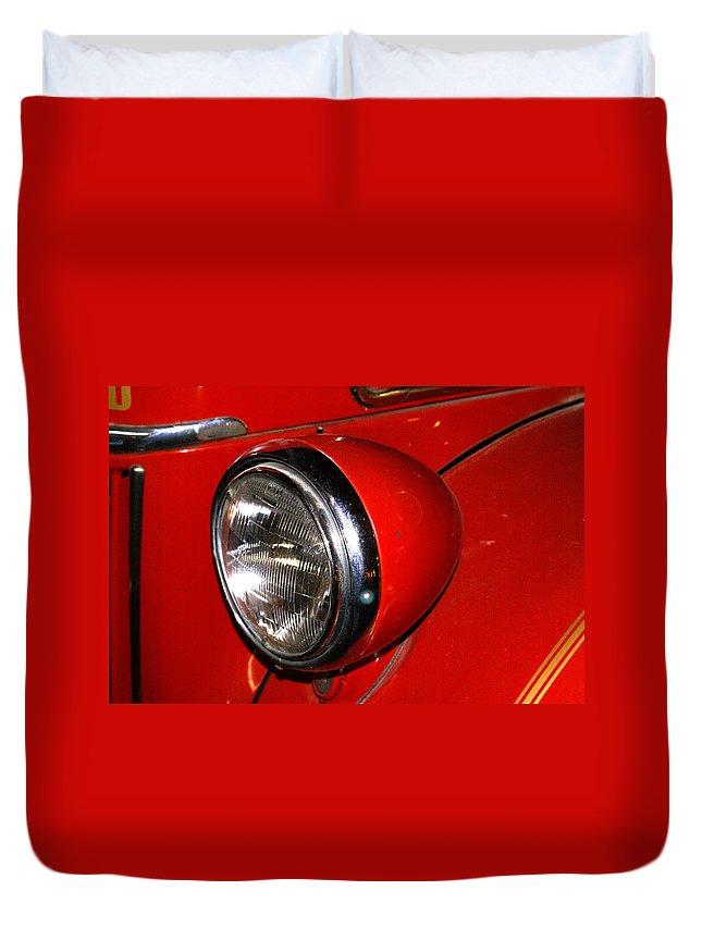 Headlamp Duvet Cover featuring the photograph Headlamp On Antique Fire Engine by Douglas Barnett