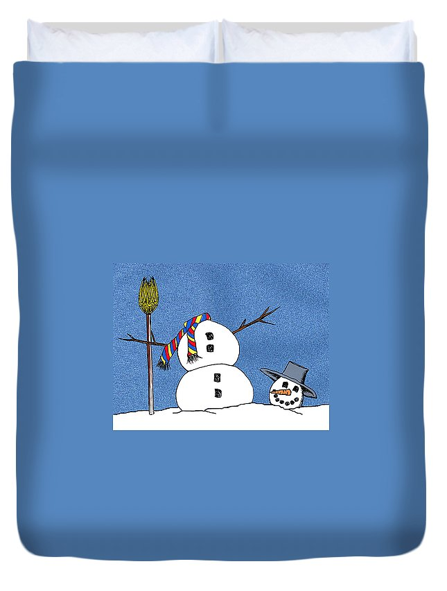 Snowman Duvet Cover featuring the digital art Headless Snowman by Nancy Mueller