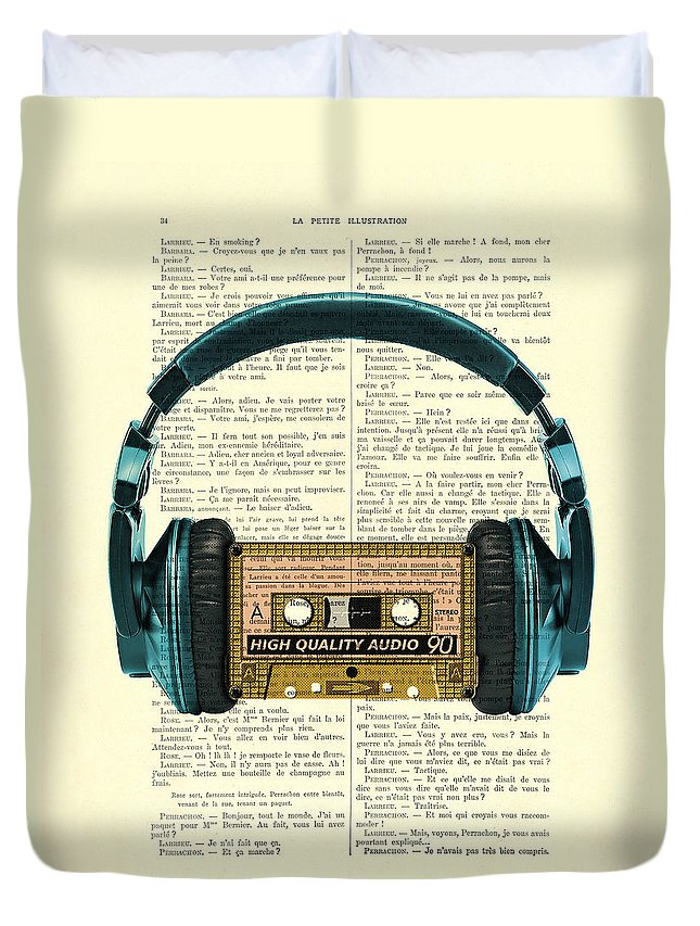 Headphone Duvet Cover featuring the digital art Blue Headphone And Yellow Cassette Collage Print by Madame Memento