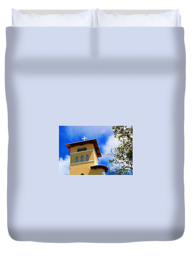 Cross Duvet Cover featuring the photograph Heads Up by Debbi Granruth