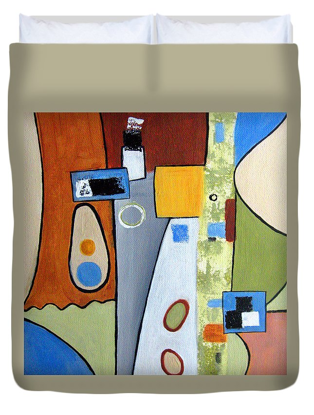 Abstract Duvet Cover featuring the painting Headspin II by Ruth Palmer