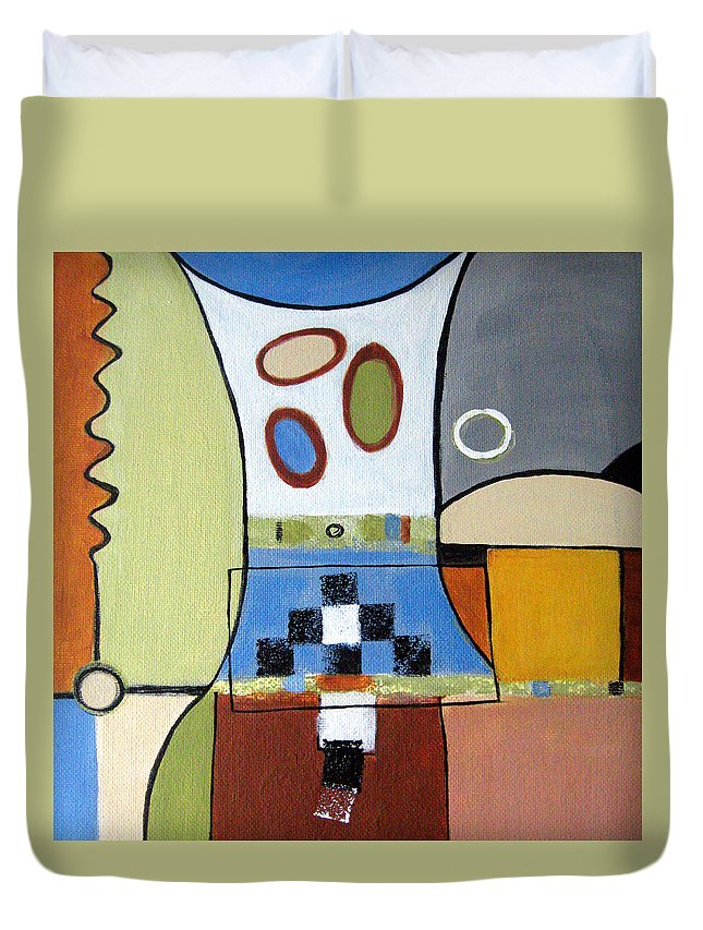 Abstract Duvet Cover featuring the painting Headspin by Ruth Palmer