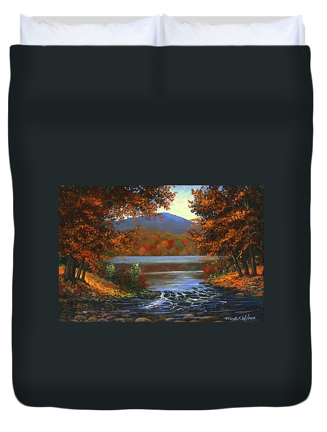 Landscape Duvet Cover featuring the painting Headwaters by Frank Wilson