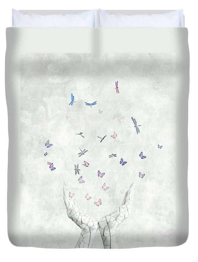 Surreal Duvet Cover featuring the digital art Heal by Jacky Gerritsen