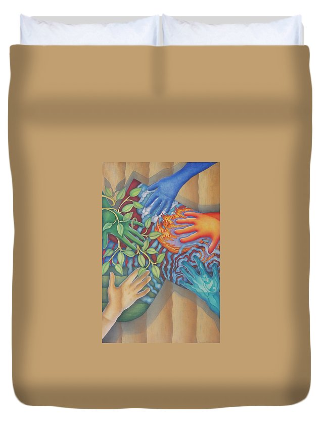 Nature. Love Duvet Cover featuring the painting Healing Hands Of Love by Jeniffer Stapher-Thomas