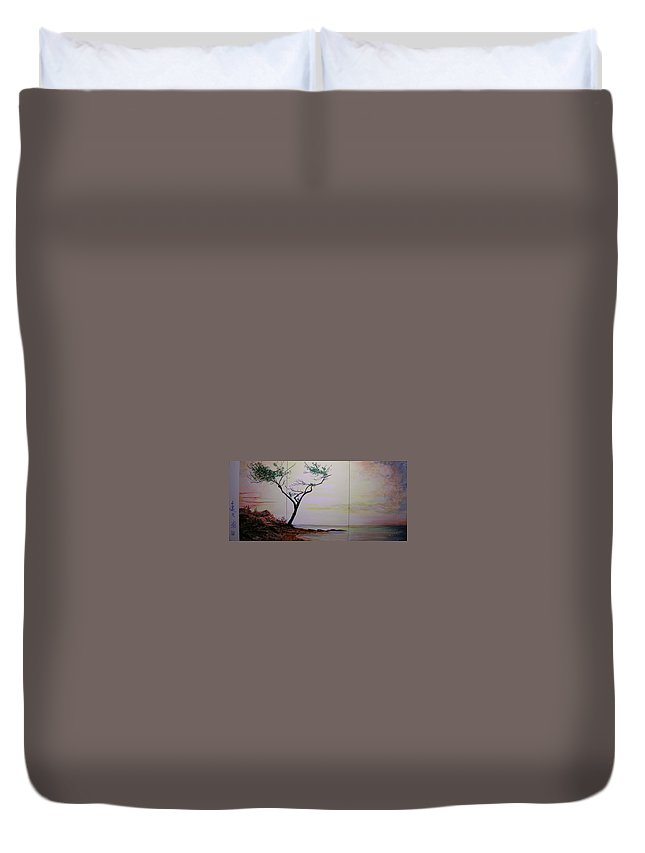 Sunrise Duvet Cover featuring the painting Health Wealth And Benevolence by Lizzy Forrester
