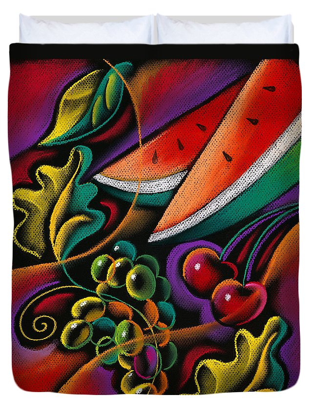 Apple Apples Bounty Diet Eat Eating Exotic Farm Farming Flower Food Fruit Fruits Grape Grapes Grow Growing Growth Harvest Health Healthy Leaves Nutrition Nutritional Oranges Produce Tropical Tropics Variety Decorative Art Abstract Painting Duvet Cover featuring the painting Healthy Fruit by Leon Zernitsky