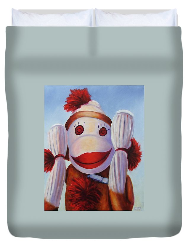 Children Duvet Cover featuring the painting Hear No Bad Stuff by Shannon Grissom