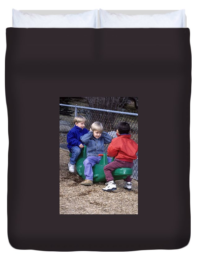 Children Duvet Cover featuring the photograph Hear No Evil See No Evil Speak No Evil by Laurie Paci