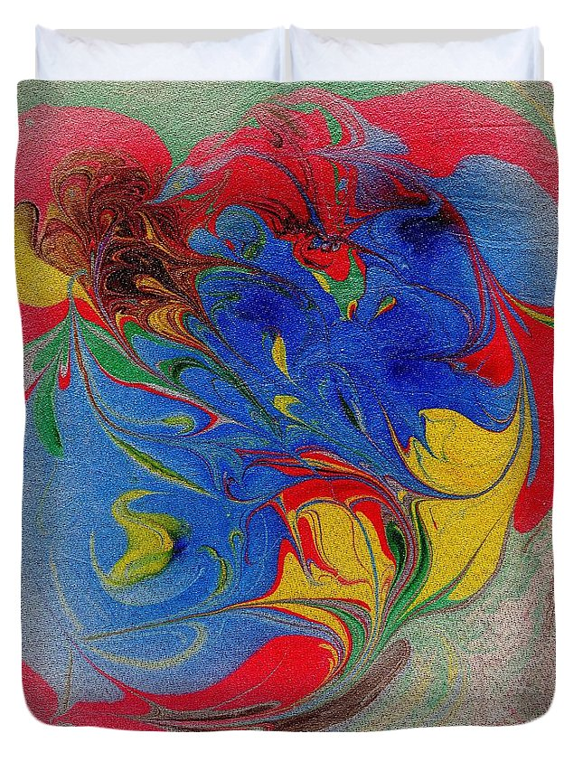 Marbling Duvet Cover featuring the painting Heart And Soul No. 1 by Karin Kohlmeier