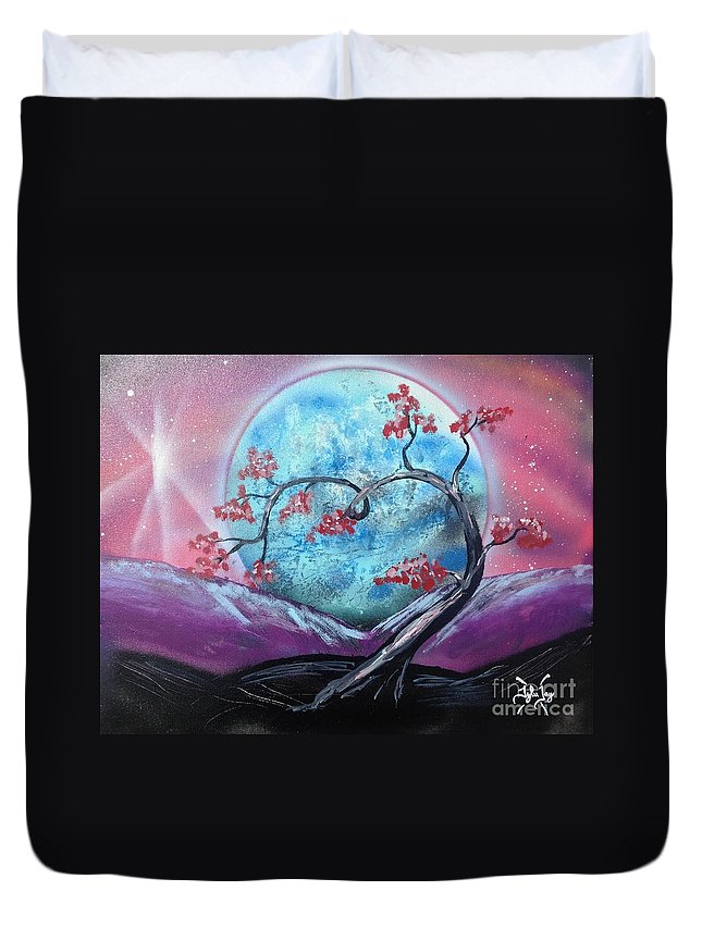 Moon Duvet Cover featuring the painting Heart Blossom by Tyler Haddox