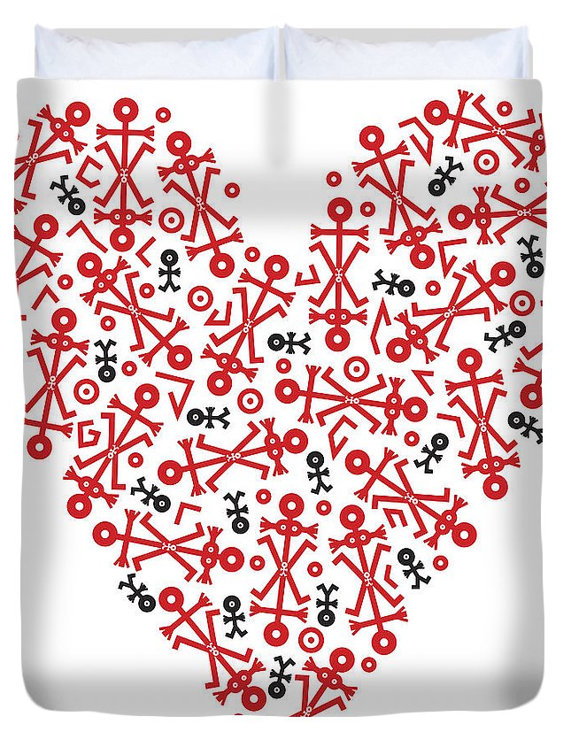 Male Duvet Cover featuring the painting Heart Icon by Thisisnotme