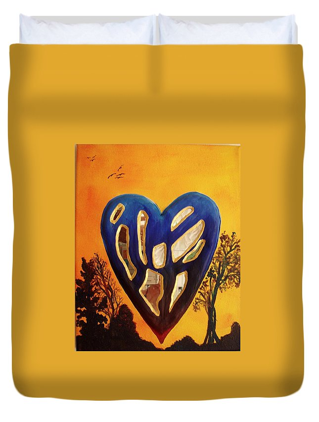 Duvet Cover featuring the painting Heart In Glory by Catt Kyriacou