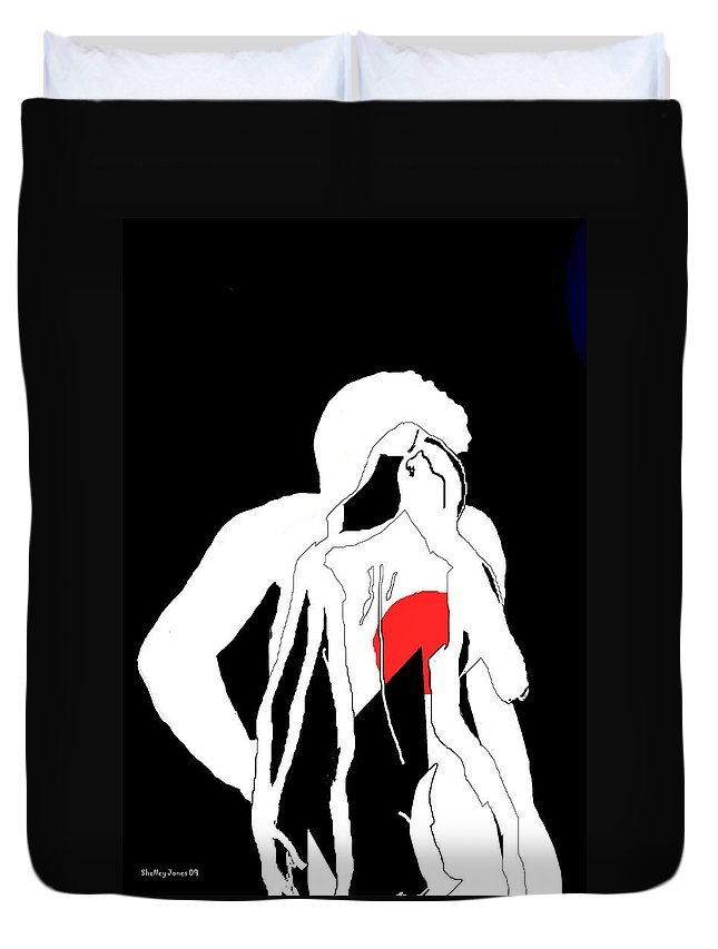 Man Duvet Cover featuring the digital art Heart Of A Woman by Shelley Jones