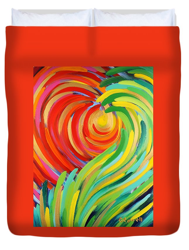 Abstract Duvet Cover featuring the painting Heart Of God by Gary Rowell