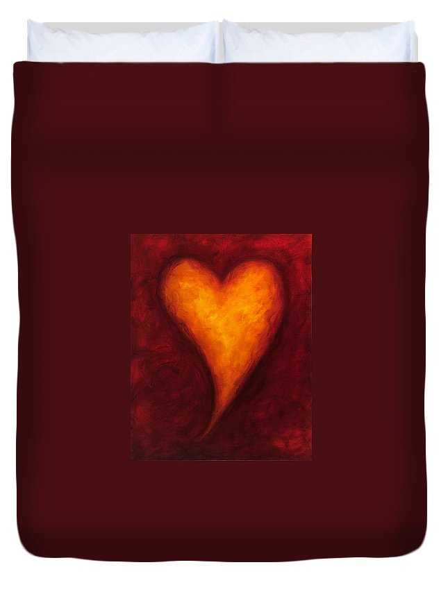 Heart Duvet Cover featuring the painting Heart Of Gold 2 by Shannon Grissom