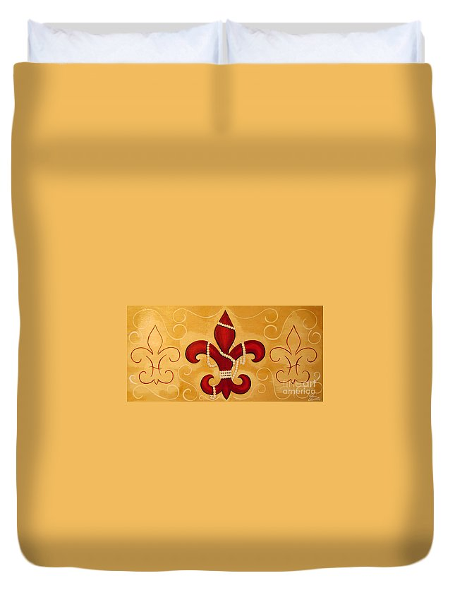 Fleur De Lis Duvet Cover featuring the painting Heart Of New Orleans by Valerie Carpenter