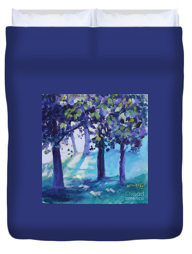 Expressionist Duvet Cover featuring the painting Heart Of The Forest by Jan Bennicoff