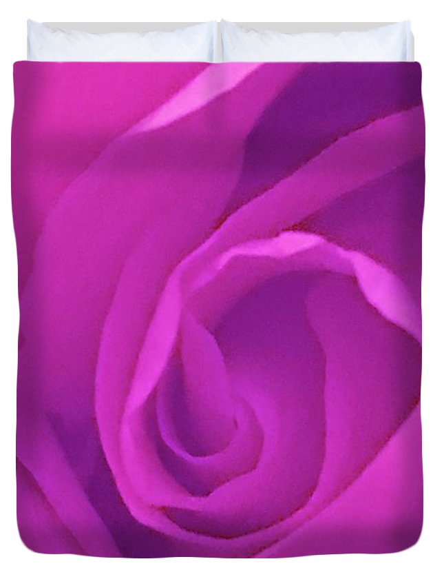 Soft Lavender Duvet Cover featuring the photograph Heart Of The Rose by Marian Palucci-Lonzetta