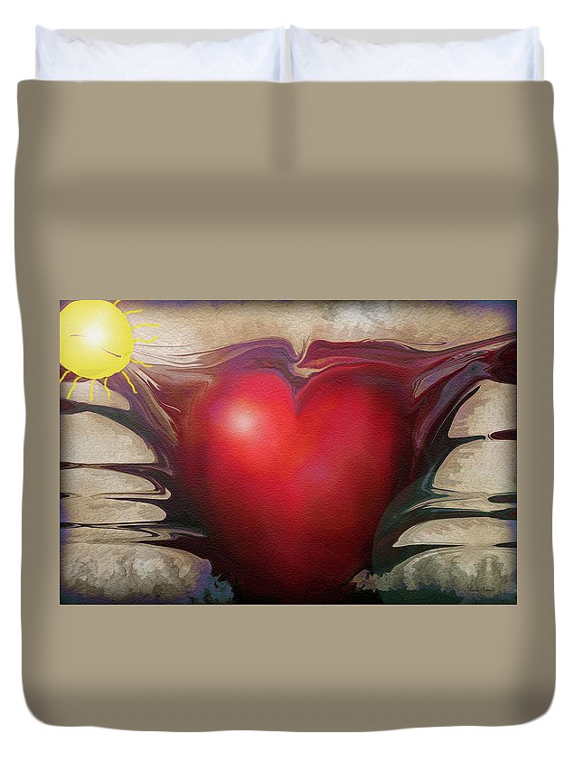 Abstracts Duvet Cover featuring the digital art Heart Of The Sunrise by Linda Sannuti