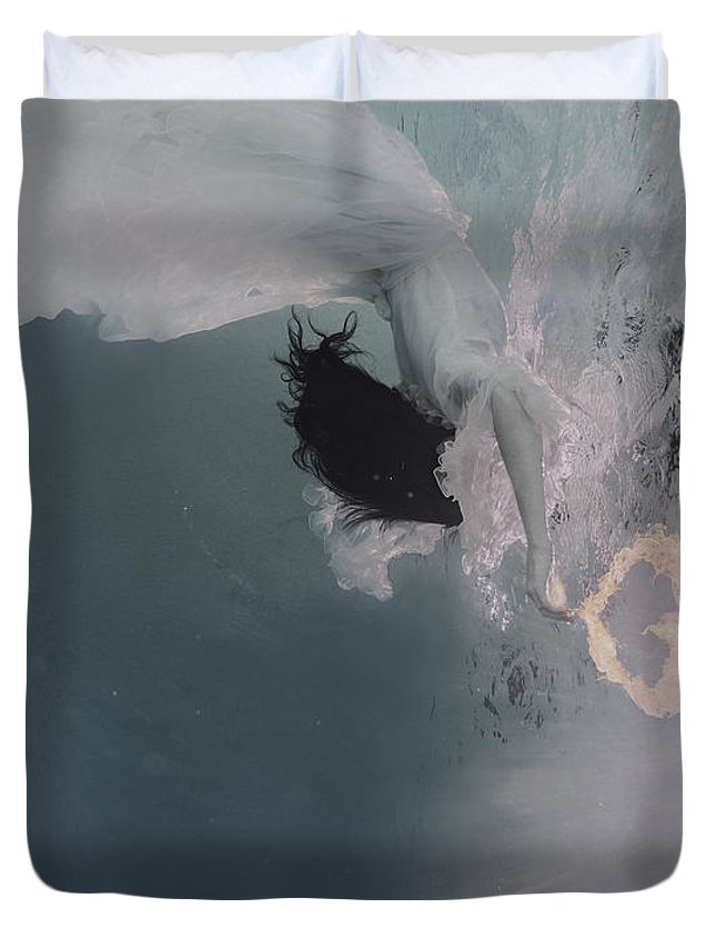Water Duvet Cover featuring the photograph Heart On Fire by Corrinda Raine