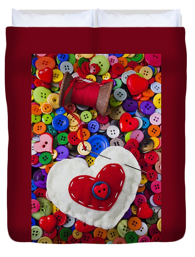 Heart Duvet Cover featuring the photograph Heart Pushpin Chusion by Garry Gay