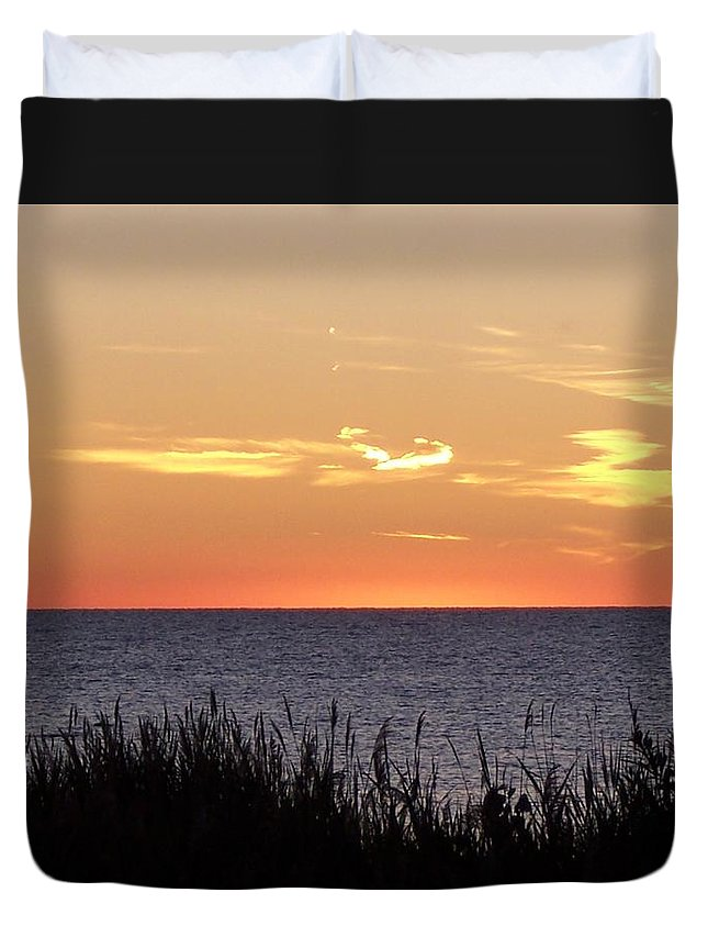 Sunset Duvet Cover featuring the photograph Heart Sunset by Michelle Miron-Rebbe