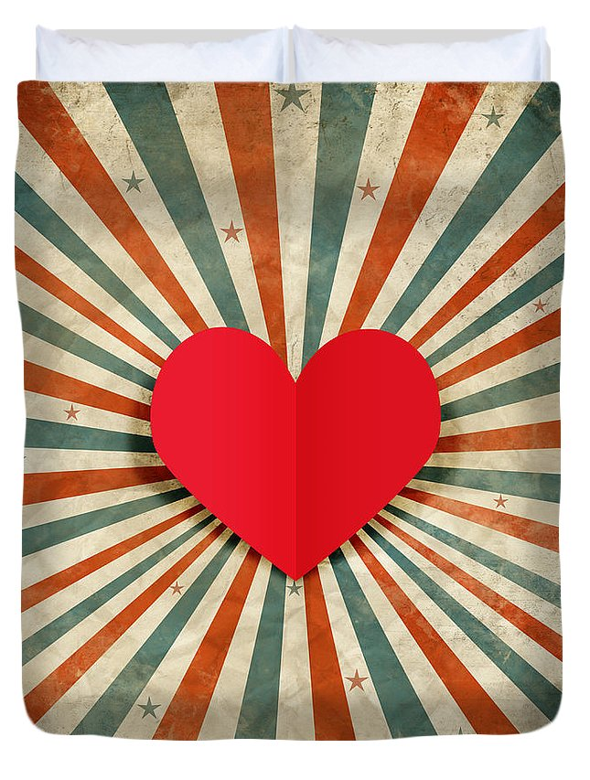 Antique Duvet Cover featuring the photograph Heart With Ray Background by Setsiri Silapasuwanchai
