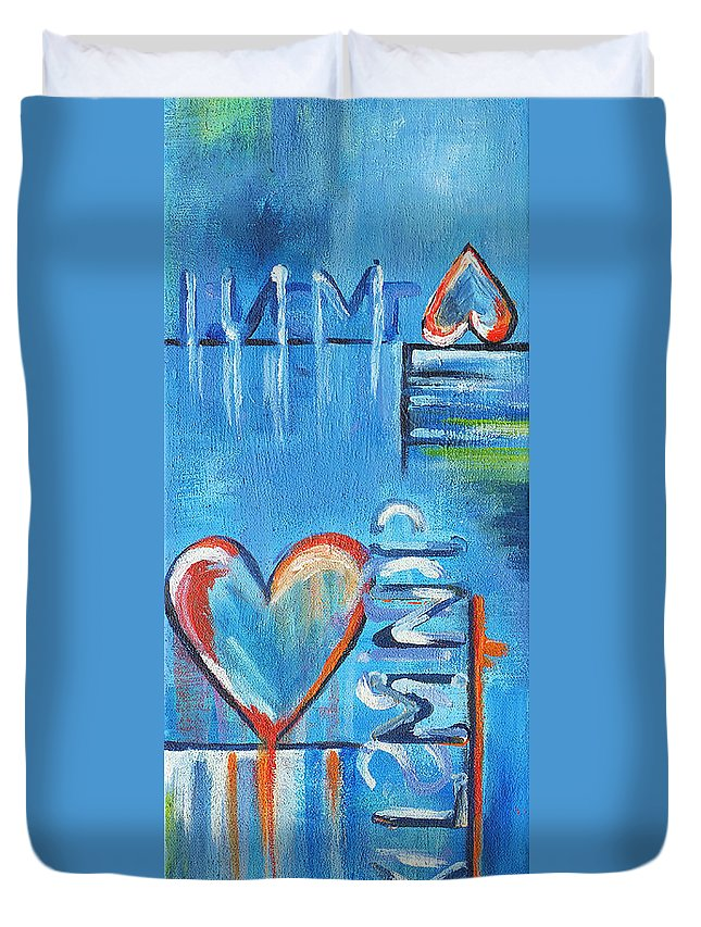 Acrylic Duvet Cover featuring the painting Heartache by Jutta Maria Pusl