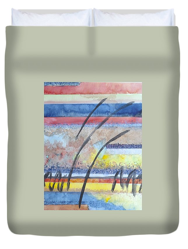 Abstract Duvet Cover featuring the painting Heartbeat by Jacqueline Athmann