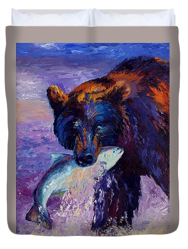 Bear Duvet Cover featuring the painting Heartbeats Of The Wild by Marion Rose