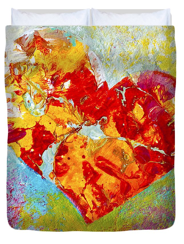 Heartfealt Duvet Cover featuring the painting Heartfelt I by Marion Rose