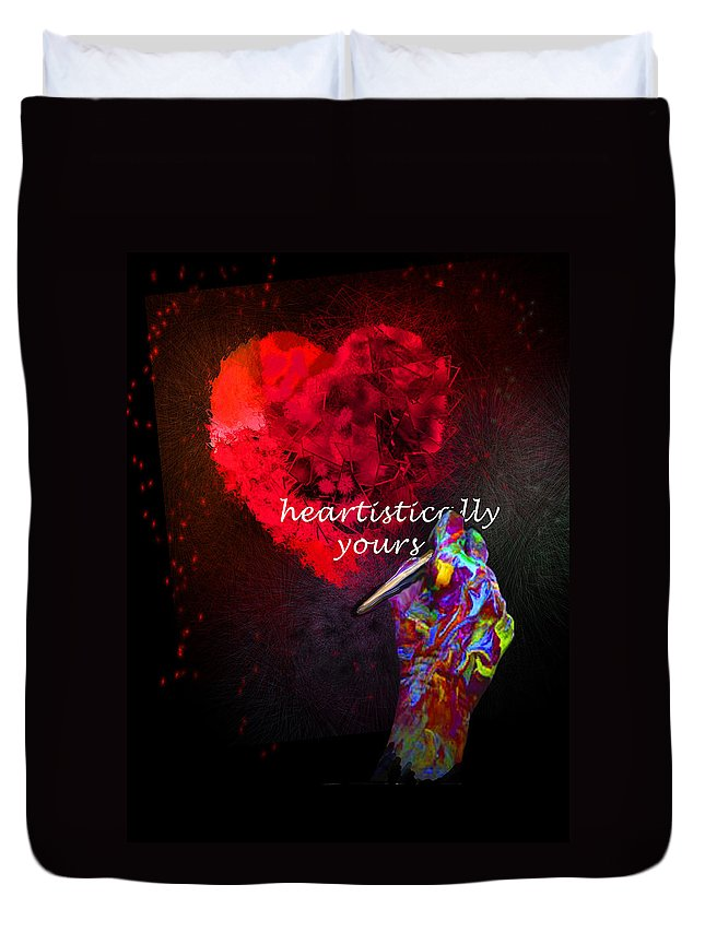 Valentine Duvet Cover featuring the painting Heartistically Yours by Miki De Goodaboom
