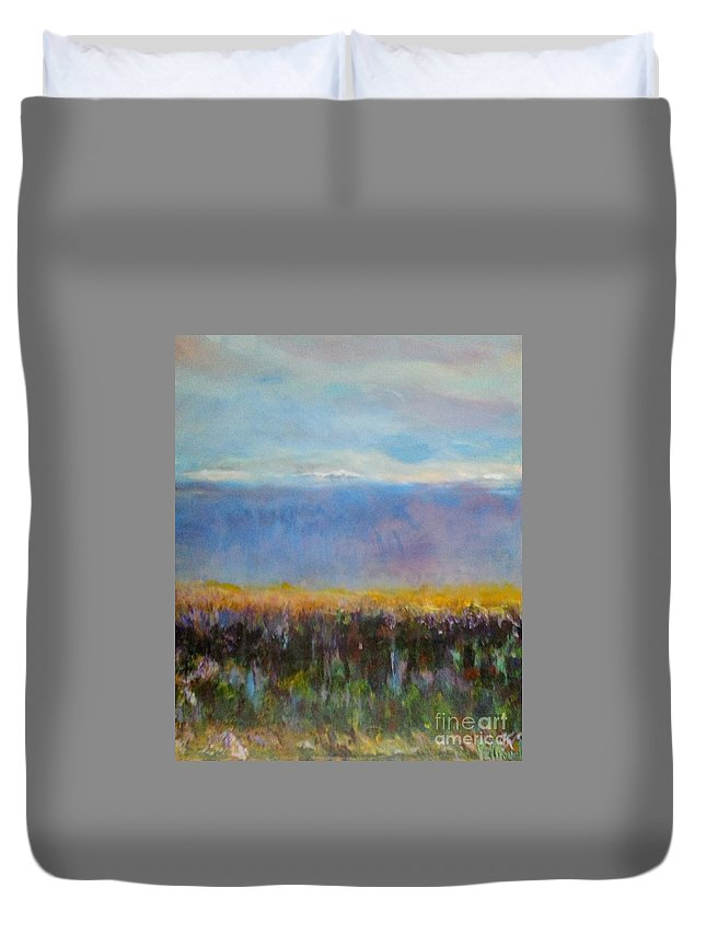 Impressionist Duvet Cover featuring the painting Heartland At Dusk by Patty Mowatt