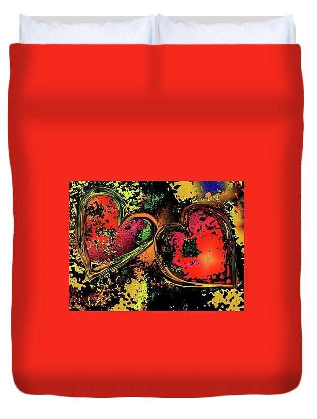 Hearts Duvet Cover featuring the digital art Hearts Adrift by David Pantuso