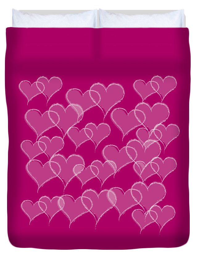 Hearts Duvet Cover featuring the digital art Hearts by Anne Kitzman