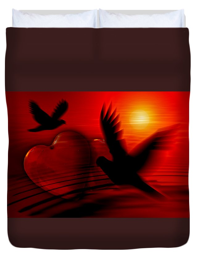 Heart Duvet Cover featuring the digital art Hearts by Frederick Holiday